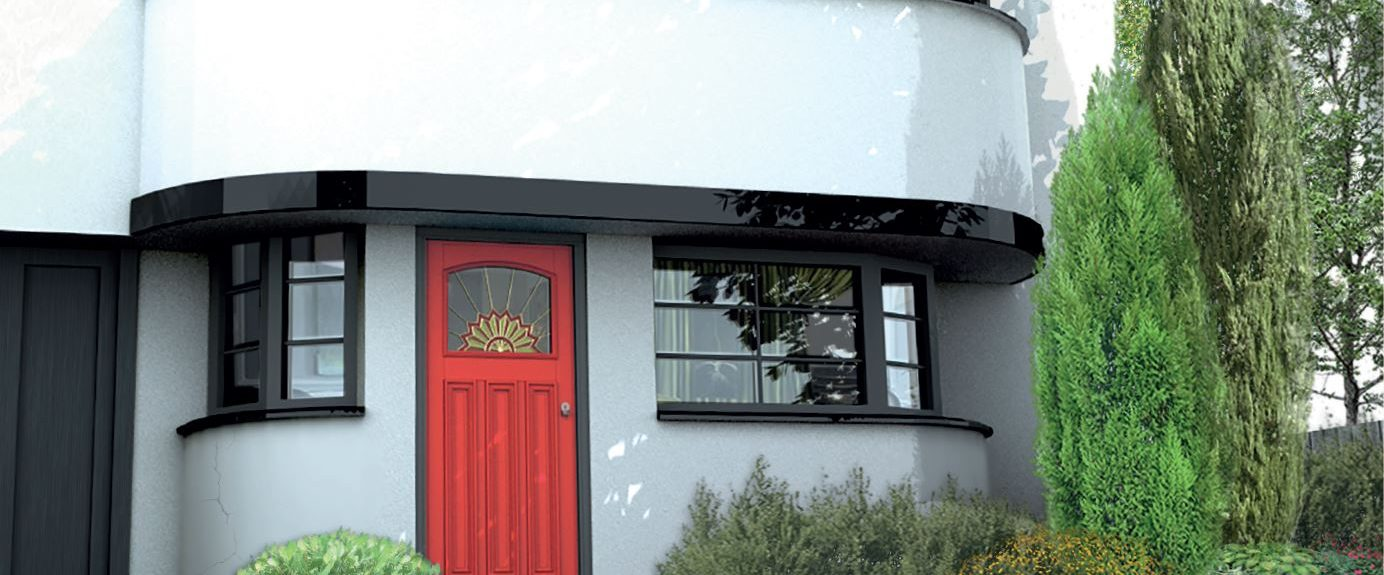 Bespoke retro mid century modern wooden front entrance